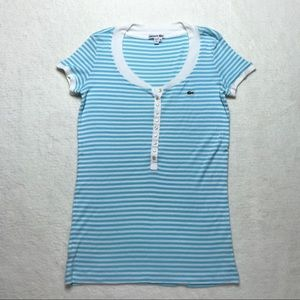 Lacoste Striped Cap Sleeve Stretch Top Henley 6-8